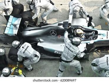 SEPANG, MALAYSIA, 30 March 2014: Driver Mercedes AMG Petronas F1, Nico Rosberg, entering crews does pit-stop practice at the 2014, F1 Petronas Malaysian Grand Prix at Sepang International Circuit.