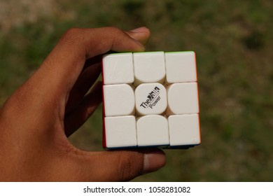 Sepang, Malaysia - 31 March 2018 : A rubik's cube named as The Valk Power made by Qiyi Company