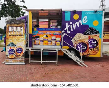 Sepang, Malaysia - 8 February 2020 : View a special Drinks Truck CHATIME at parking space in Sepang,Malaysia with selective focus.Chatime is a Taiwanese global franchise teahouse chain based in Taiwan