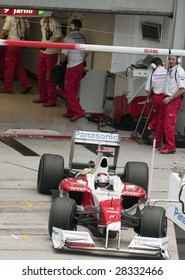 SEPANG, MALAYSIA - APRIL 3: Jarno Trulli of Panasonic Toyota Racing exits the garage during practice session at Malaysian F1 Grand Prix April 3, 2009 at Sepang International Circuit in Sepang.