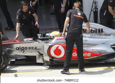 SEPANG, MALAYSIA- APRIL 8: Lewis Hamilton of Vodafone McLaren Mercedes at PETRONAS Malaysian Grand Prix on April 8, 2011 in Sepang, Malaysia. The race will be held on April 10, 2011.