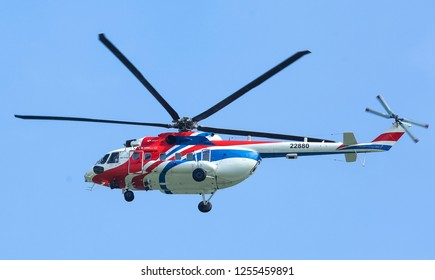 SEPANG, MALAYSIA - DECEMBER 03, 2018 : Russian Helicopter, Mi-171A2 is an advanced medium multirole helicopter.