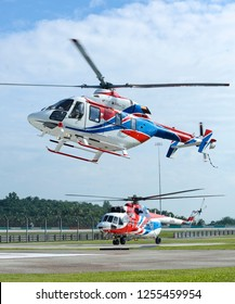 SEPANG, MALAYSIA - DECEMBER 03, 2018 : Russian Helicopter, Ansat (up) and Mi-171A2, a medium and light multi-purpose helicopter.