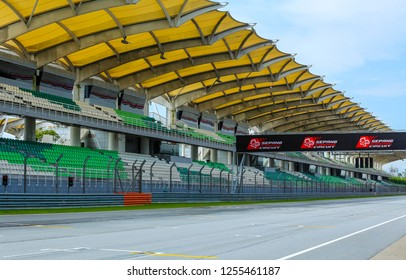 SEPANG, MALAYSIA - DECEMBER 03, 2018 : Empty race track of Sepang International Circuit (SIC) Malaysia. Venue for the major motorsport events.