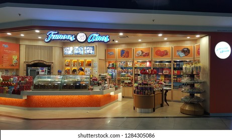 Sepang / Malaysia - December 11 2018: Famous Amos Shop in KLIA2. Famous Amos is a brand of cookies founded in Los Angeles in 1975 by Wally Amos.