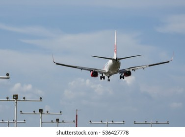 SEPANG, MALAYSIA - DECEMBER 14, 2016: Lion Air plane Boeing 737-8GP, arrive at KLIA airport on December 14, 2016 in KLIA, Sepang, Malaysia.