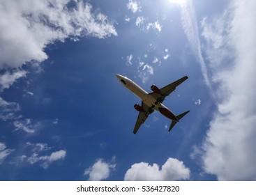 SEPANG, MALAYSIA - DECEMBER 14, 2016: Malindo Air plane Boeing 737-8GP, arrive at KLIA airport on December 14, 2016 in KLIA, Sepang, Malaysia.