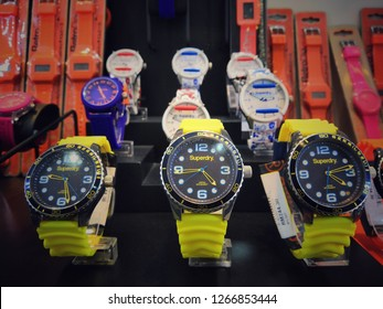 Sepang, Malaysia - December 2018: SUPERDRY watches brand for sale in Mitsui outlet store.Superdry plc is a UK branded clothing company, and owner of the Superdry label.