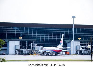 Sepang, Malaysia - December 5 2018:  Boeing airplane preparing for boarding at Kuala Lumpur International Airport (KLIA).