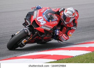 Sepang, Malaysia - Feb. 08, 2020 : Ducati's Italian rider Andrea Dovizioso during the pre-season MotoGP winter test at the Sepang International Circuit in Sepang