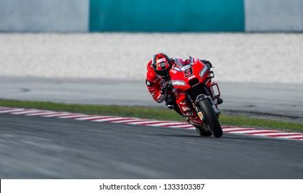SEPANG, MALAYSIA - FEBRUARY 06, 2019 : Danilo Petrucci of Italy and Ducati Team during the MotoGP Test at Sepang International Circuit (SIC).