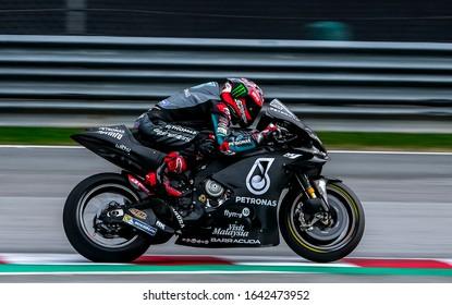SEPANG, MALAYSIA - FEBRUARY 08, 2020 : Fabio Quartararo of France and Petronas Yamaha SRT in action during the MotoGP Pre-Season Tests at Sepang International Circuit.