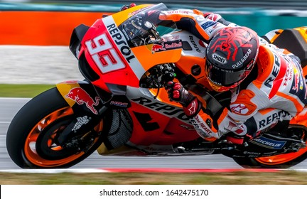 SEPANG, MALAYSIA - FEBRUARY 08, 2020 : Marc Marquez of Spain and Repsol Honda Team in action during the MotoGP Pre-Season Tests at Sepang International Circuit.