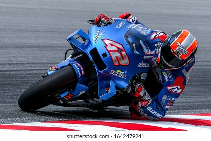 SEPANG, MALAYSIA - FEBRUARY 08, 2020 : Alex Rins of Spain and Team Suzuki ECSTAR in action during the MotoGP Pre-Season Test at Sepang International Circuit.