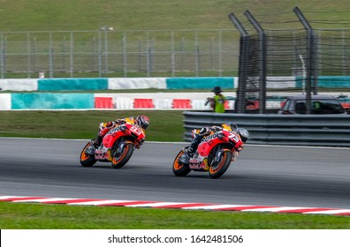 SEPANG, MALAYSIA - FEBRUARY 08, 2020 : Alex Marquez of Spain and Repsol Honda Team with his brother, Marc Marquez in action during the MotoGP Pre-Season Tests at Sepang International Circuit.