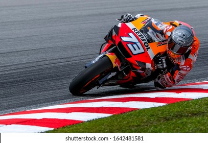 SEPANG, MALAYSIA - FEBRUARY 08, 2020 : Alex Marquez of Spain and Repsol Honda Team in action during the MotoGP Pre-Season Tests at Sepang International Circuit.