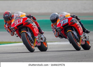 SEPANG, MALAYSIA - FEBRUARY 08, 2020: Marc Marquez of Repsol Honda Team and Alex Marquez of Repsol Honda Team during the MotoGP official testing session held at Sepang International Circuit in Sepang.