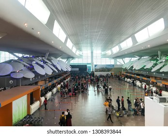 Sepang, Malaysia - February 09, 2019; Passengers walking around the airport terminal of KLIA2, the largest low cost terminal in the world with anticipated 25 millions passengers annually.