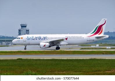 SEPANG, MALAYSIA - JANUARY 30, 2017: SriLankan Airlines plane Airbus A320-214, Registration name 4R-ABM, at KL International airport on January 30, 2017 in Sepang, Malaysia.
