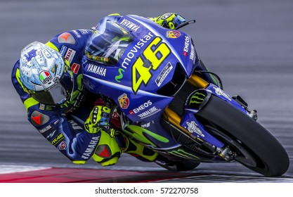 SEPANG, MALAYSIA - JANUARY 30, 2017 : Movistar Yamaha MotoGP rider, Valentino Rossi taking a corner during 2017 MotoGP pre-season test (Winter Test) at the Sepang International Circuit.