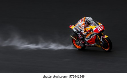 SEPANG, MALAYSIA - JANUARY 30, 2017 : Repsol Honda Team rider, Marc Marquez powers his bike on the wet track during 2017 MotoGP pre-season test at the Sepang International Circuit.