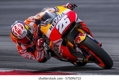SEPANG, MALAYSIA - JANUARY 30, 2017 : Repsol Honda Team rider, Dani Pedrosa taking a corner during 2017 MotoGP pre-season test at the Sepang International Circuit.