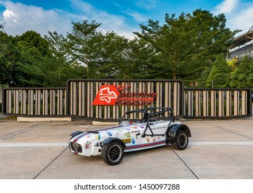 Sepang, Malaysia - July 13, 2019 : A Caterham car with donor handprints in support of cancer research at Sepang International Circuit. Cancer is a major illness then is beyond the affordibilty of many