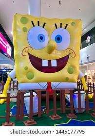 Sepang, Malaysia - July 5, 2019: Spongebob replica in the Kuala Lumpur International Airport 2.