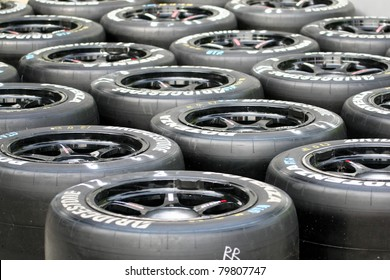 SEPANG, MALAYSIA - JUNE 18: Tires for the race cars are marked and ready for use at the Sepang International Circuit during the Japan SUPER GT Round 3 on June 18, 2011 in Sepang, Malaysia.