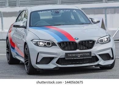 SEPANG, MALAYSIA - JUNE 28, 2019. A test drive of new launching BMW M2 Competiton car at the Sepang International Circuit in Sepang, Selangor.