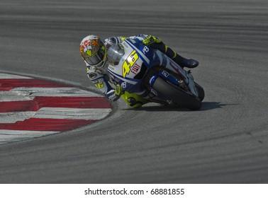 SEPANG, MALAYSIA - KUALA LUMPUR, MALAYSIA - FEBRUARY 4: Valentino Rossi of Italy at the MotoGP pre-season testing on February 4, 2010 at the Sepang International Circuit near Kuala Lumpur, Malaysia.