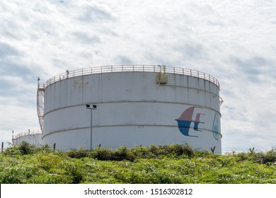 Sepang, Malaysia - May 1 2019 : Jet fuel storage tank with Malaysian Airlines logo