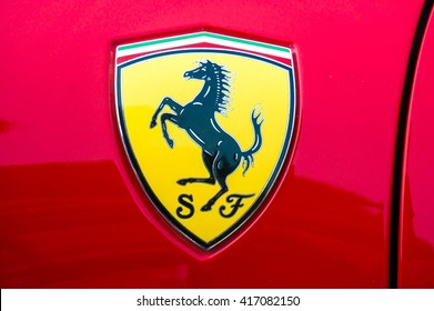 SEPANG, MALAYSIA - MAY 8, 2016: Ferrari logo. Ferrari is an Italian sports car manufacturer based in Maranello. Founded by Enzo Ferrari in 1939.