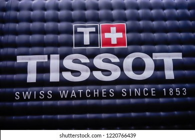 Sepang, Malaysia - Nov 2, 2018 : Tissot logo on a wall. Tissot is a Swiss watchmaker and the company was founded in Le Locle, Switzerland.