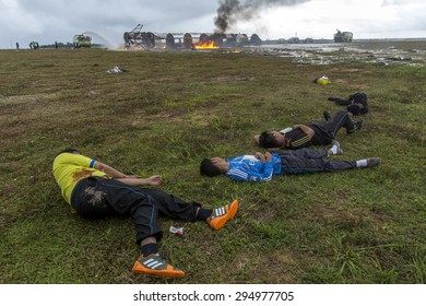 SEPANG, MALAYSIA - NOV 26, 2014: Volunteer seen at a mock scene of an airplane crash-site during an emergency drill at Kuala Lumpur International Airport (KLIA) in Sepang, Malaysia.