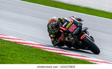 SEPANG, MALAYSIA - NOVEMBER 02, 2018 : Hafizh Syahrin of Malaysia and Monster Yamaha Tech 3 during free practice of the Malaysian Motorcycle Grand Prix (MotoGP) at Sepang International Circuit.
