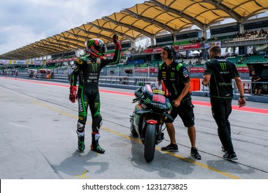 SEPANG, MALAYSIA - NOVEMBER 02, 2018 : Hafizh Syahrin of Malaysia and Monster Yamaha Tech 3 wave to his fans during free practice of the Malaysian Motorcycle Grand Prix (MotoGP) at Sepang Circuit.