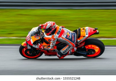 SEPANG, MALAYSIA - NOVEMBER 02, 2019 : Marc Marquez of Spain and Repsol Honda Team in action during free practice of the Malaysian Motorcycle Grand Prix (MotoGP) at Sepang International Circuit.