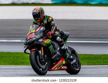 SEPANG, MALAYSIA - NOVEMBER 03, 2018 : Hafizh Syahrin of Malaysia and Monster Yamaha Tech 3 during free practice of the Malaysian Motorcycle Grand Prix (MotoGP) at Sepang International Circuit.