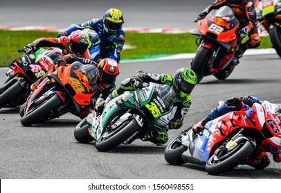 SEPANG, MALAYSIA - NOVEMBER 03, 2019 : LCR Honda British rider Carl Crutchlow (35) during the Malaysia Motorcycle Grand Prix (MotoGP) at Sepang International Circuit (SIC).