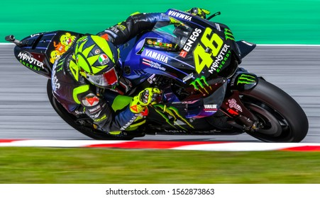 SEPANG, MALAYSIA - NOVEMBER 03, 2019 : Valentino Rossi of Italy and Monster Energy Yamaha during the race of Malaysia Motorcycle Grand Prix (MotoGP) at Sepang International Circuit.