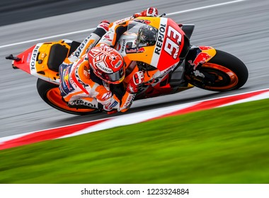 SEPANG, MALAYSIA - NOVEMBER 04, 2018 : Marc Marquez of Repsol Honda Team in action during the MotoGP race of the Malaysian Motorcycle Grand Prix held at Sepang International Circuit.