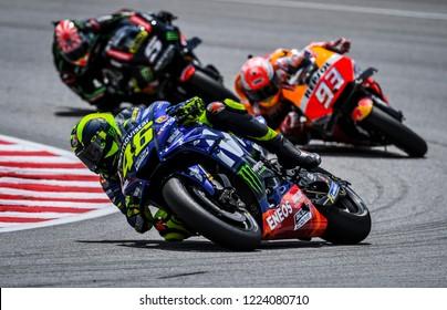 SEPANG, MALAYSIA - NOVEMBER 04, 2018 : Valentino Rossi of Italy and Movistar Yamaha MotoGP in action during the MotoGP race of the Malaysian Motorcycle Grand Prix at Sepang International Circuit.