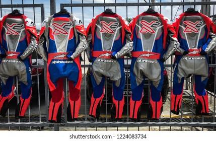 SEPANG, MALAYSIA - NOVEMBER 04, 2018 : Alpinestars racing suit during of the Malaysian Motorcycle Grand Prix at Sepang International Circuit.
