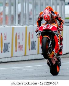 SEPANG, MALAYSIA - NOVEMBER 04, 2018 : Marc Marquez of Spain and Repsol Honda Team celebrates winning the Malaysian Motorcycle Grand Prix (MotoGP) at Sepang International Circuit.