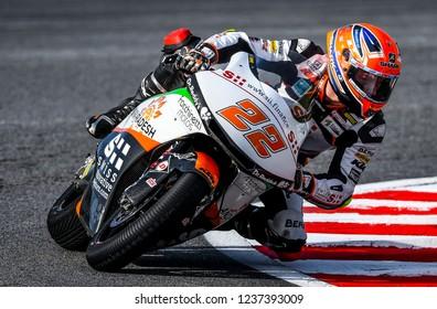 SEPANG, MALAYSIA - NOVEMBER 04, 2018 : Sam Lowes of Great Britain and Swiss Inovative Investors in action Moto2 race during the MotoGP Of Malaysia at Sepang Circuit