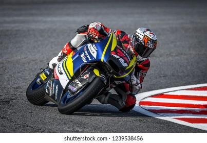 SEPANG, MALAYSIA - NOVEMBER 04, 2018 : Dimas Ekky Pratama of Indonesia and Astra Honda Racing Team Honda in action Moto2 race during the MotoGP Of Malaysia at Sepang Circuit
