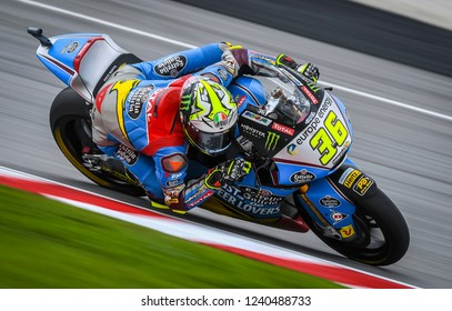 SEPANG, MALAYSIA - NOVEMBER 04, 2018 : Joan Mir of Spain and EG 0,0 Marc VDS in action Moto2 race during the MotoGP Of Malaysia at Sepang CircuitÊ