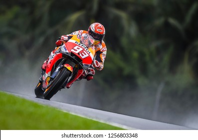 SEPANG, MALAYSIA - NOVEMBER 04, 2018 : Marc Marquez of Spain and Repsol Honda Team in action during MotoGP race of the Malaysian Motorcycle Grand Prix at Sepang International Circuit