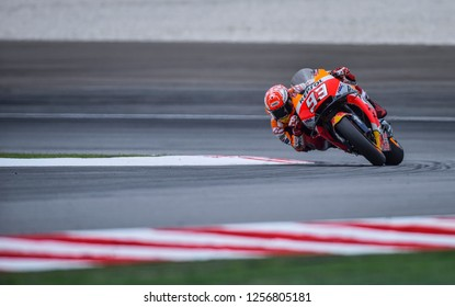 SEPANG, MALAYSIA - NOVEMBER 04, 2018 : Marc Marquez of Spain and Repsol Honda Team in action during MotoGP race of the Malaysian Motorcycle Grand Prix held at Sepang International Circuit